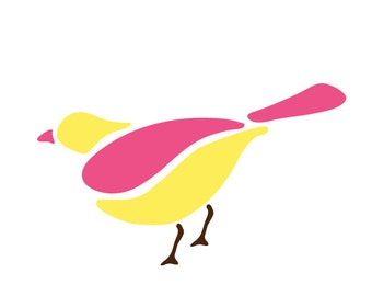 Perching Bird Stencil for Painting Kids or Baby Room Mural (SKU127-istencil)