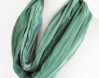 Batik Green Cotton Long Scarf, Unisex Scarf, For Gift