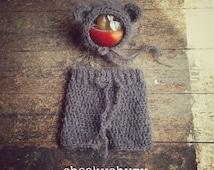 Fluffy grey mohair teddy bear set. Newborn shorties / pants and matching bear bonnet. Great photo prop. UK seller