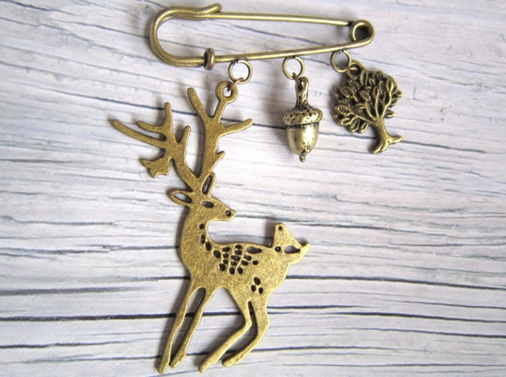 Woodland Brooch with acorn, tree and deer-