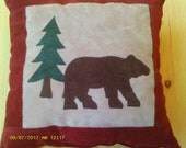 Bear and tree pillow made from old leather jackets - FREE SHIPPING