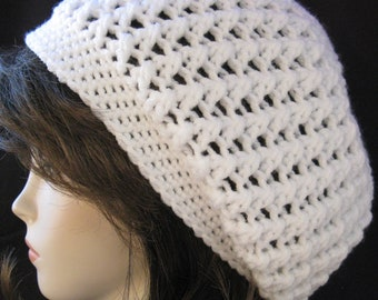 Soft White winter-white Rasta Tam ski huge Hat Slouchy Hippie Hand Crochet