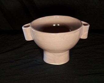 Medium Earthy Pink Pedestal Bowl with Handles Ceramic Pottery Made in OHIO USA