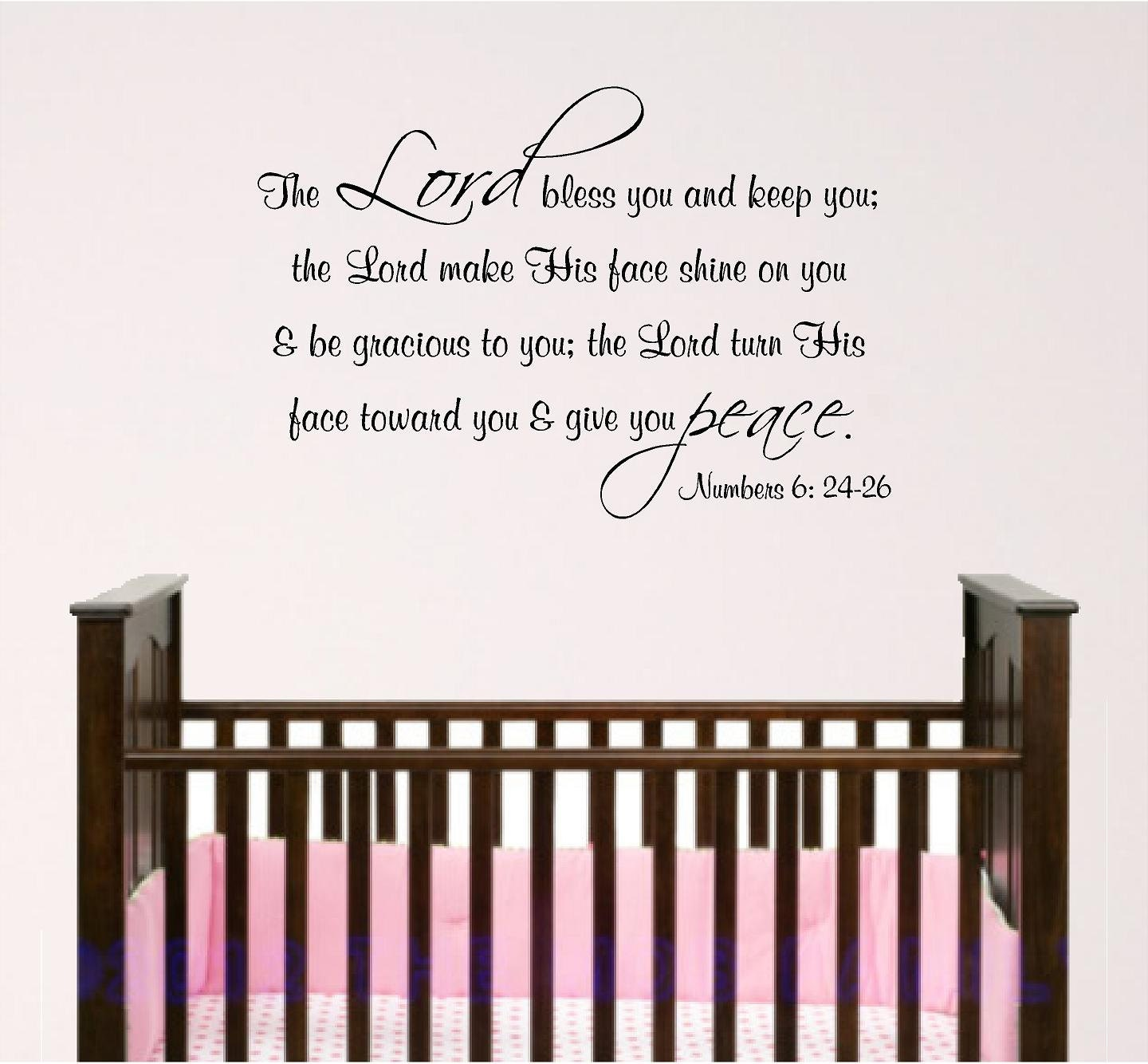 nursery bible verse wall art lord bless you baby room decal - 🔎zoom