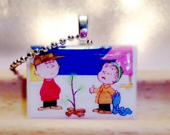 Peanuts Linus and Charlie  Game Tile Pendant/Necklace