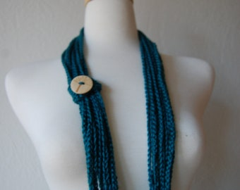 Crochet Scarf Chained to the Tree of Life in deep teal color