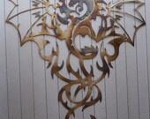 "Dragon, Heat Colored Metal Art, Wall Decor, Great Gift, 30"" (76cm) Tall"