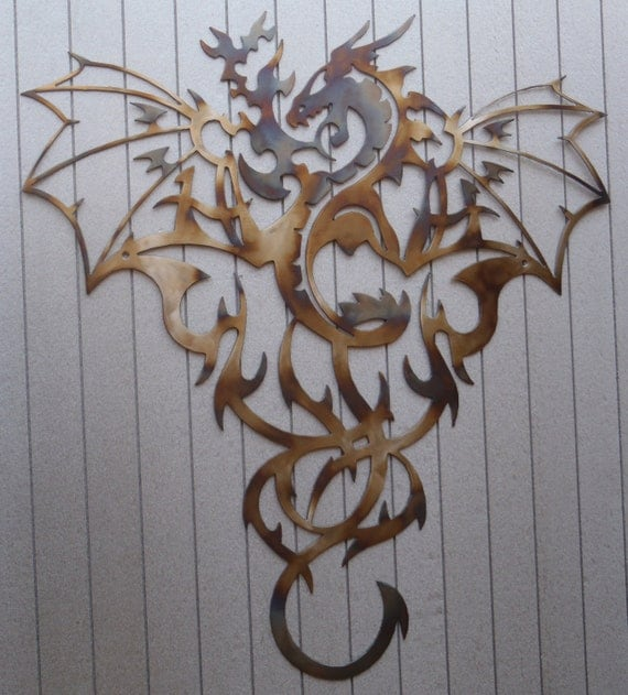 Dragon Heat Colored Metal Art Wall Decor Great Gift