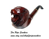 Smoking Pipe/Pipes LION Long Wooden pipe-pipes of Pear Wood Handcrafted. Exclusive Pipe