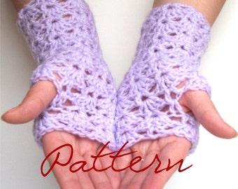 PDF Gloves Crochet Pattern Lace Shell Fingerless Gloves