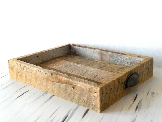 - Reclaimed Barn Wood Serving Tray W/ Antiqued File Cabinet