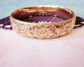 Edwardian Victorian Gold Bracelet Bangle Engraved Flowers Wide Antique 1800s Jewelry