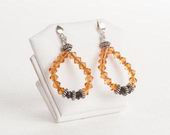 Hoop Earrings, Summer Earrings, Crystal Earrings, Orange Earrings, OOAK Black and Orange Earrings, Swarovski Crystal Jewelry, Summer Jewelry