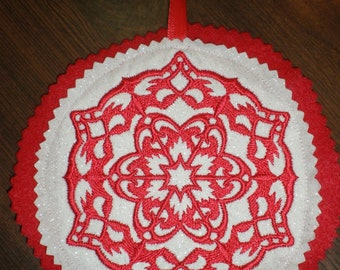 Wycinanki Embroidered Snowflake Polish Christmas Ornament Red White- Handmade