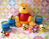 Fondant Edible Winnie the Pooh Inspired Edible Cake Topper Set -Large Set-