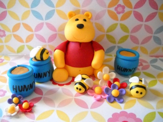 Winnie the Pooh Inspired Edible Cake Topper Set