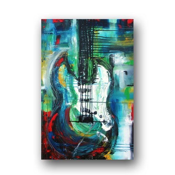 guitar painting large abstract art original painting on canvas. Black Bedroom Furniture Sets. Home Design Ideas