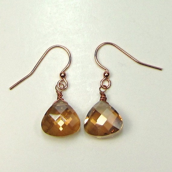 Earrings of Champagne Crystal and Copper, Faceted Briolette Earrings