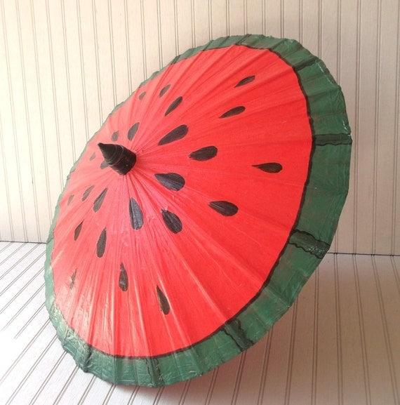 vintage canvas parasol - handmade in thailand - watermelon