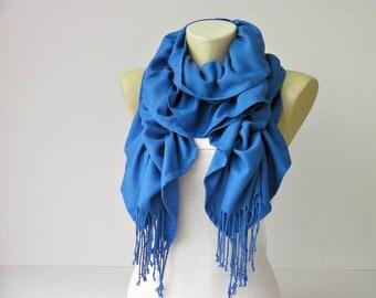 Ruffle scarf  ,Pashmina fabric scarf in  royal blue