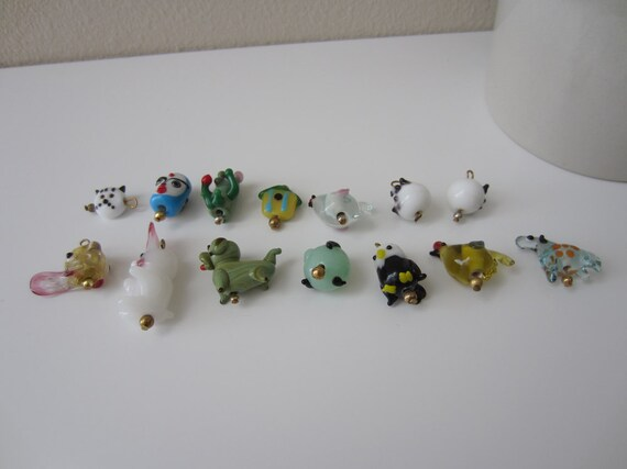 glass animal beads jewelry making charm bracelet by