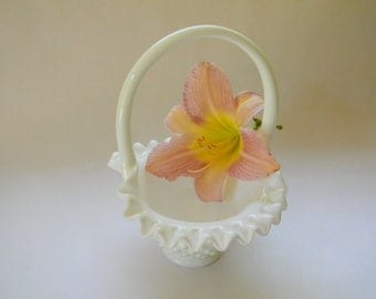 BASKET, Hobnail Milk Glass Basket
