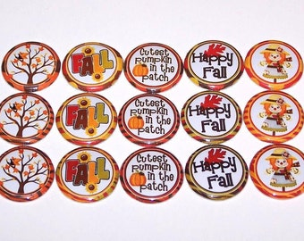 "Happy Fall 1 Inch Pinback Buttons 1"" Pins"