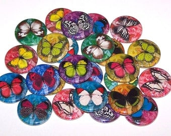 "Colorful Butterflies Set of 10 1 Inch Pinback Buttons 1"" Pins or Magnets"