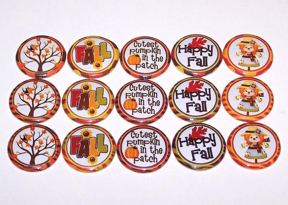 """Happy Fall 1 Inch Pinback Buttons 1"""" Pins"""