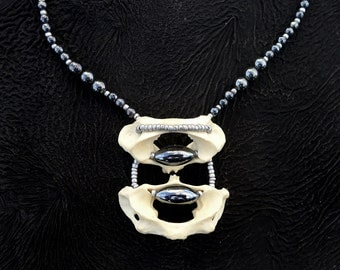 Real Bone Necklace Vertebrae with Unique Hematite Bead Inlay and Matte Silver Seed Beads Gothic Sexy 50