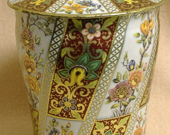 Keepsake Tin Sewing Candy Storage Canister Floral Print Vintage Free Shipping!
