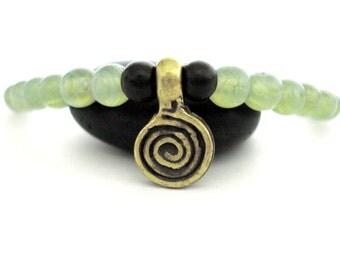 Brass Spiral Yoga Bracelet, Green Glass, Brass Spiral Charm Bracelet