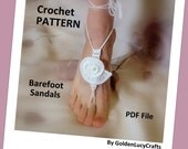 Barefoot Sandals Crochet PATTERN, Sea Shell, Bridal, Summer, Beach Wedding, Yoga