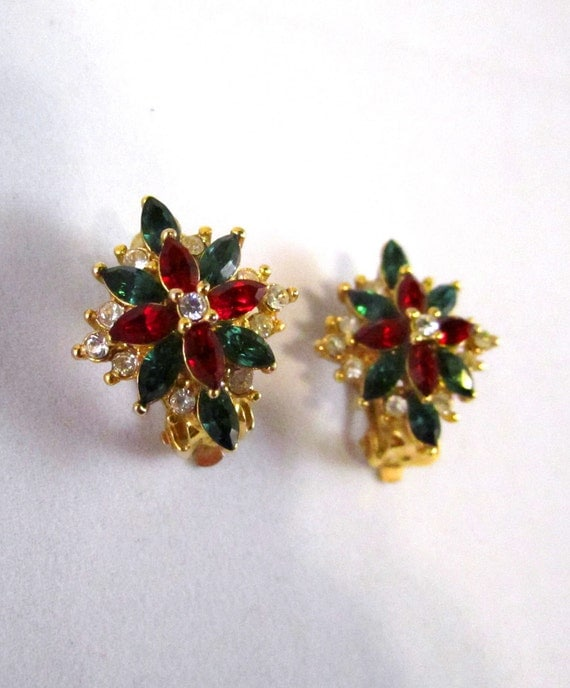 Vintage Red, Green & White Rhinestone Clip-on Earrings