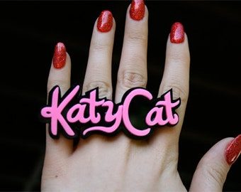 Custom Katy Perry Font Name Plate Ring (1-7 letters)