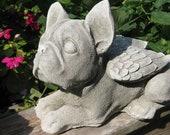Concrete Boston Terrier Angel Memorial Statue