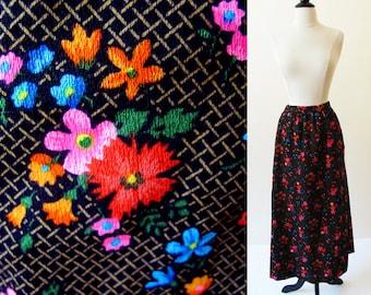 Viintage 60s Skirt, 1960 Cotton Flower Power Print Maxi Skirt, Small Vintage Beach Patio Party Skirt
