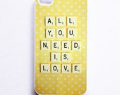 SALE iPhone 4 Case: All You Need is Love. Scrabble. White Case. Fits iPhone 4S. Yellow. Polka Dots. Ready-To-Ship