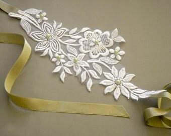 Bridal Headband, Applique Lace. Mint Lush Green Satin Ribbon, Pearl Beads, Minimal Wedding