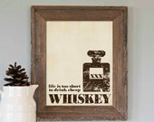 Life is too Short to Drink Cheap Whiskey - Textured Distressed Brown Beige Taupe Art Print -  Mad Men Husband Fathers Day Man Cave