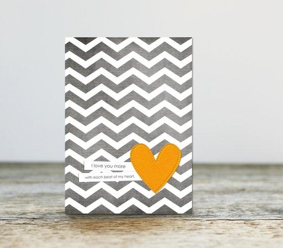 Each Beat of My Heart - Love Wedding Anniversary Chevron Yellow Gold Heart - Love Art Greeting Card Valentines Day