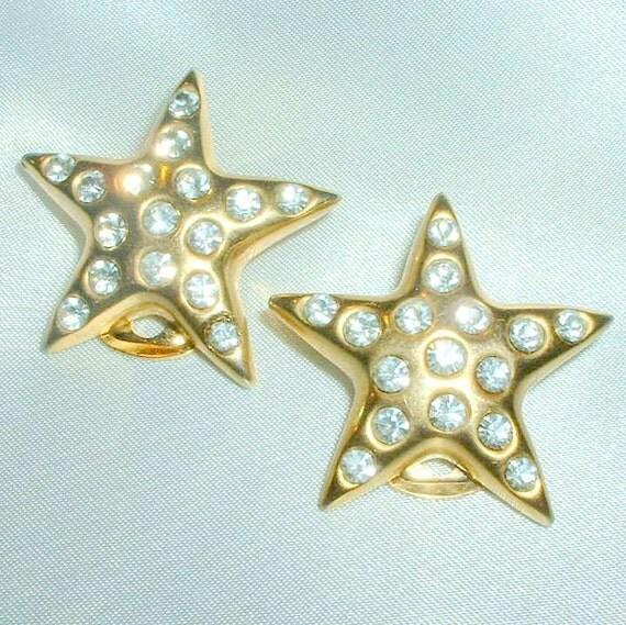 Vintage Rhinestone Star Earrings