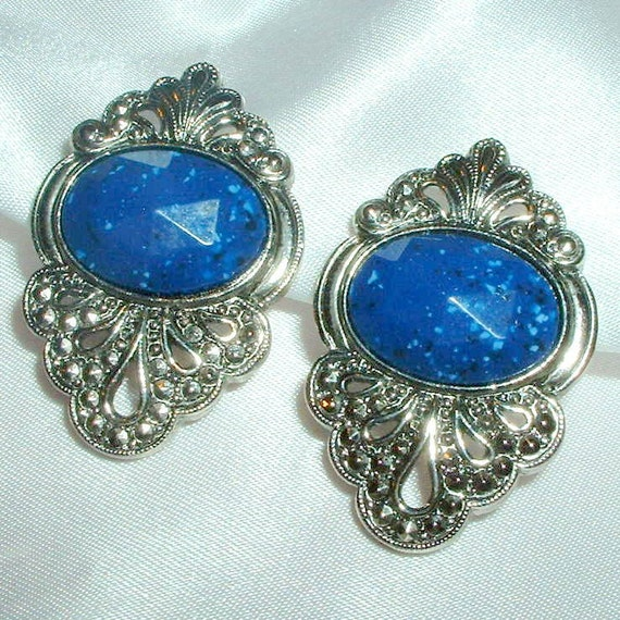 Vintage Faux Lapis and Marcasite Earrings
