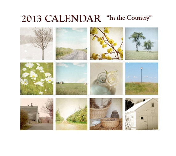 "ON SALE 2013 Photo Calendar, In stock, Country Photos, 5""x7"", country living, field, farm, trees, barn, countryside, farmhouse chic, nature"