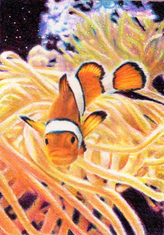 Original ACEO for the WWF - 'Found Him' Clownfish (Day 5)