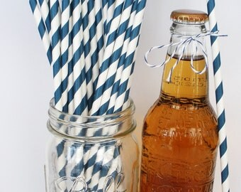 "25 ""Extra Long"" NAVY Stripe Paper Straws, 10.5"" Tall Weddings Birthdays Party Paper Drinking Straws....Soda Bottles"