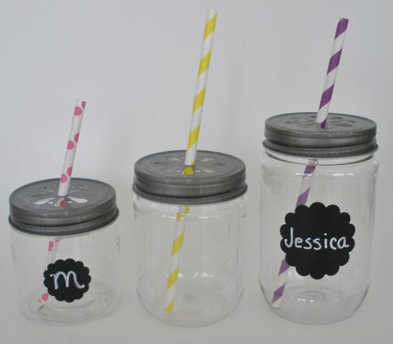 Reserved for Emily....30 Plastic Mason Jars, 17 oz. and 30 Pewter Daisy Cut Jar Lids....15 Light Blue & 15 Lime Green Paper Straws