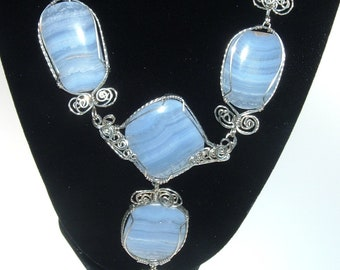 Blue Lace Agate and Crystal Quartz Silver Necklace Wire Wrapped