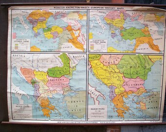 Rise and Decline of the Ottoman Empire, Balkan States Vintage Wall Map