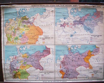 Prussia and the Unification of Germany - Vintage Wall Map